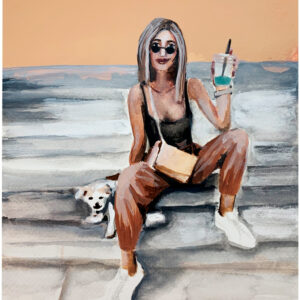 girl-with-dog-a4 kunst væg stue