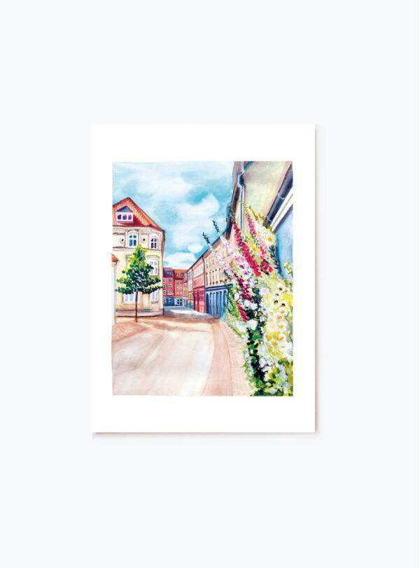 Aalborgs smukke gader håndtegnet motiv som plakat