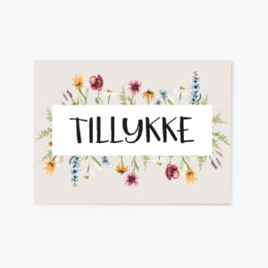TILLYKKE postkort A6